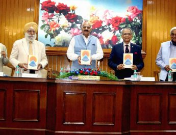 The Governor of Punjab and Administrator, UT, Chandigarh, Shri V.P. Singh Badnore releasing the book – India Transformed by Dr. Rakesh Mohan, renowned economist and Senior Fellow at Jackson Institute of Global affairs Yale University at Punjab Raj Bhavan Chandigarh