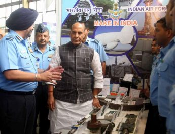 The Union Minister for Defence, Shri Rajnath Singh visiting the stalls showcasing indigenisation of equipment used by Indian Air Force, at the seminar on 'Modernisation and Indigenisation plans of the Indian Air Force', in New Delhi. The Chairman Chiefs of Staff Committee and Chief of the Air Staff, Air Chief Marshal B.S. Dhanoa is also seen.